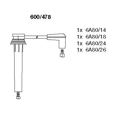 Комплект проводов зажигания BREMI 600/478