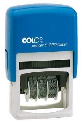 Датер Cоlop Printer S 220 РУС. Высота шрифта даты: 4 мм. Цвет корпуса: синий.