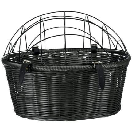 Корзина для велоперевозки собак TRIXIE Bicycle Basket, серая с крышей-решеткой, 44х34х35см