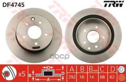 Тормозной диск TRW/Lucas DF4745 задний