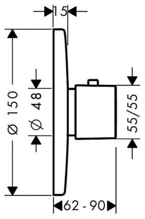 Смеситель для встраиваемой системы Hansgrohe Metris Ecostat E Highflow 31571000 хром