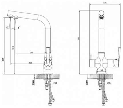 Смеситель для кухонной мойки SmartSant с каналом для фильтрованной воды, высота 356мм
