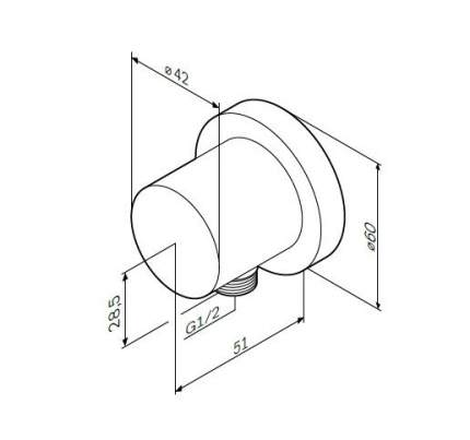 F0600E00 шланговое подсоединение, ½'', хром