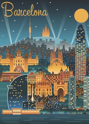 Постер Ночная Барселона 40х50 в тубусе