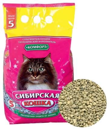 Впитывающий наполнитель для кошек Сибирская кошка Комфорт глиняный, 2.7 кг, 5 л