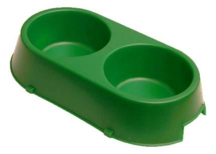 Двойная миска для кошек и собак Дарэлл, пластик, зеленый, 2 шт по 0.3 л