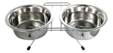 Двойная миска для собак Triol, сталь, серебристый, 2 шт по 0.35 л