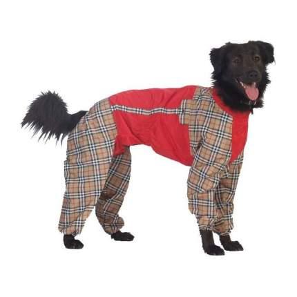 Комбинезон для собак ТУЗИК размер L унисекс, красный, коричневый, длина спины 31 см