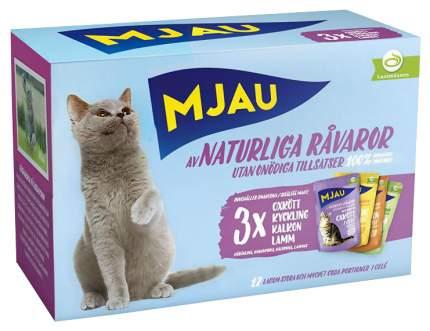 Влажный корм для кошек Mjau Multipack Meatmix Мясное ассорти набор 12 шт по 85 г