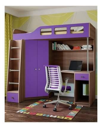 Кровать-чердак РВ мебель Астра 7 дуб шамони/фиолетовый ASTRA7-2-9