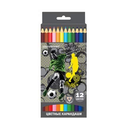 Набор цветных карандашей ФУТБОЛ 12 цв. трехгранные