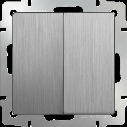 Выключатель Werkel WL09-SW-2G-2W cеребряный рифленый