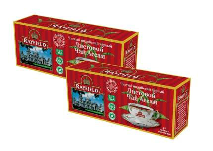 Чай черный Rayfield листовой ассам чистый  индийский  25 пакетиков 2 пачки