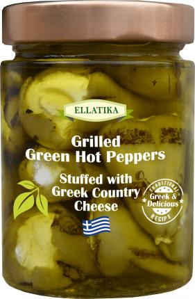 Зеленый острый перец на гриле c греческим сыром в  масле Ellatika стеклянная банка 300 г