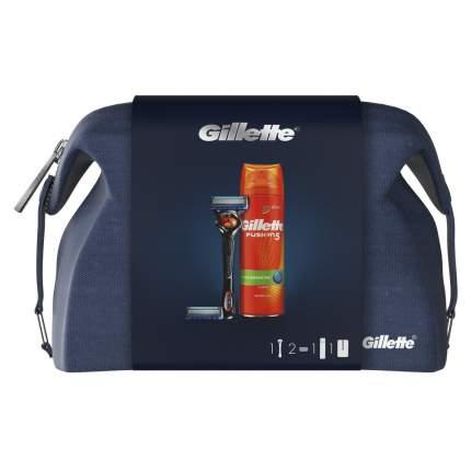 Набор Gillette Бритва Fusion5 ProGlide+См.Кас.+Гель д/бритья 200мл+Дорожная косметичка