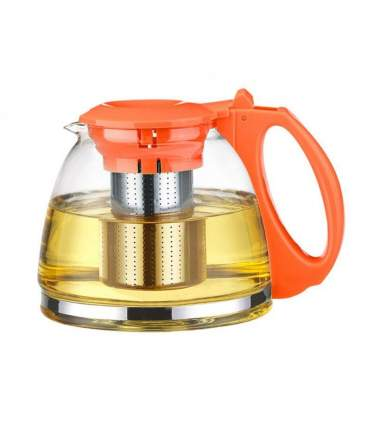 """Чайник """"Годжи"""" Оранжевый Стеклянный 1100Мл С Ситом, Пластик. Ручка + Крышка"""