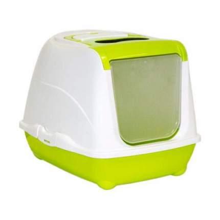 Туалет для кошек MODERNA Flip Cat, прямоугольный, зеленый, белый, 50х39х37 см