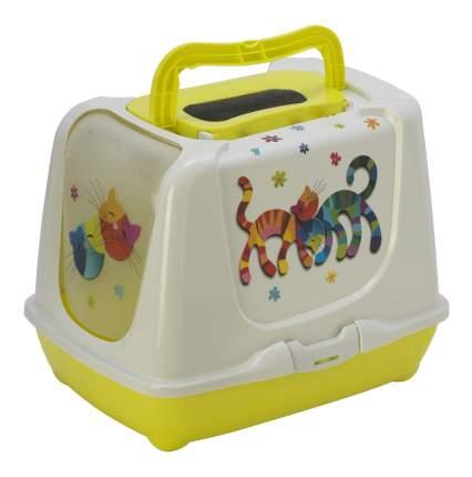 Туалет для кошек MODERNA Друзья Навсегда, прямоугольный, желтый, белый, 50х39,5х37,5 см