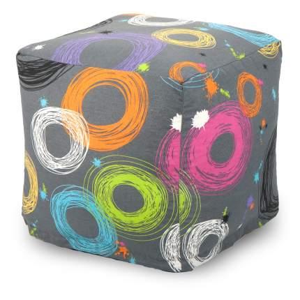 Пуф бескаркасный ПуффБери Кругос, размер S, жаккард, разноцветный