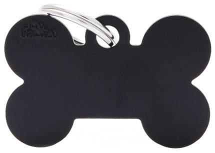 Адресник My Family Basic алюминиевый в форме косточки для животных (2,5 см, Черный)