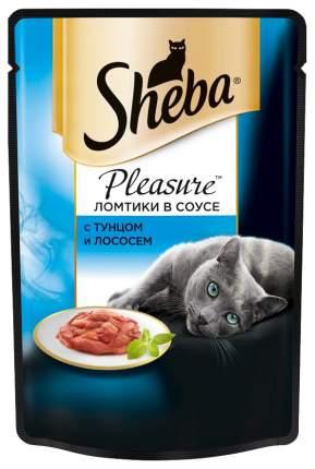 Влажный корм для кошек Sheba Pleasure ломтики с тунцом и лососем в соусе, 24 шт по 85г