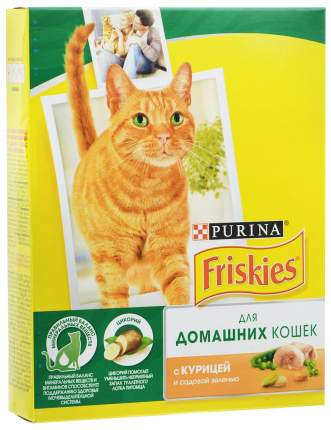 Сухой корм для кошек Friskies, для домашних, с курицей и садовой зеленью, 0,3кг