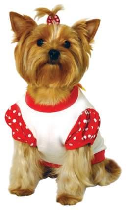 Футболка для собак Triol размер M женский, красный, белый, длина спины 28 см