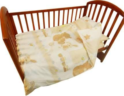 Детское постельное белье Папитто 147*112 простыня на резинке Игрушки бежевый 6046