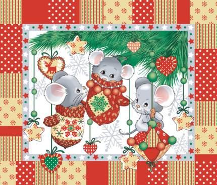 """Полотенце вафельное новогоднее """"Веселые мышата"""""""