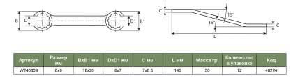 Ключ разрезной JONNESWAY W240809