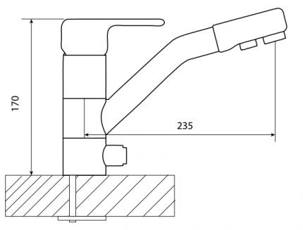 Смеситель для кухонной мойки Dr. Gans DG-02 33.42L.2110.404 серый