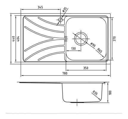 Мойка для кухни из нержавеющей стали IDDIS Arro ARR78PRi77 сталь