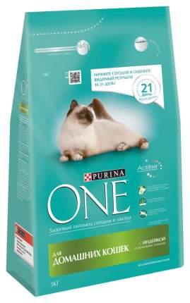 Сухой корм для кошек ONE, для домашних, индейка, 3кг