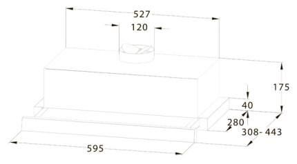 Вытяжка встраиваемая Midea MH60P303GB Black