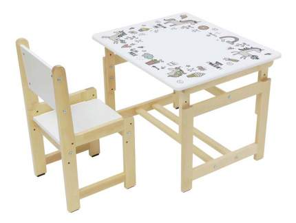 Комплект растущей детской мебели Polini Eco 400 SM Единорог белый-натуральный
