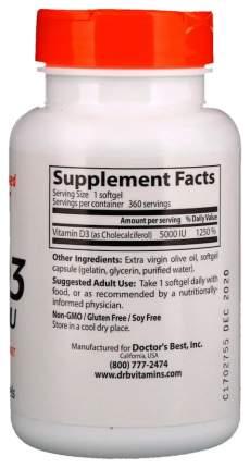 Витамин D Doctor's Best Best Vitamin D-3 5000 Ме 360 капс.