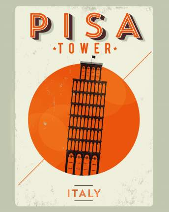 Постер Пиза 40х50 в тубусе
