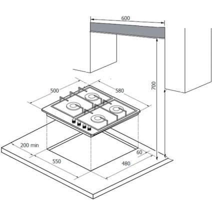 Встраиваемая варочная панель газовая Monsher MHG 61 X Silver