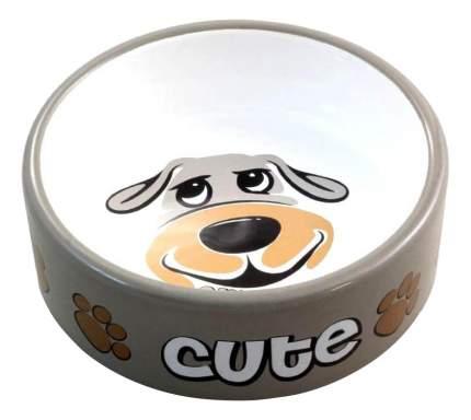 Одинарная миска для собак Triol, керамика, белый, серый, 0.3 л