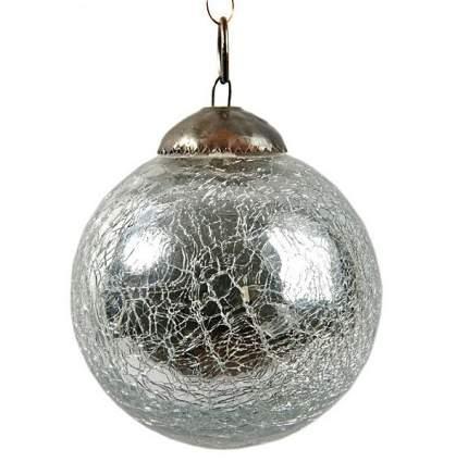Винтажный шар Kaemingk 75 мм серебряный состаренный, стекло 190031
