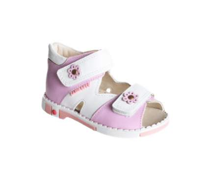 Сандалии детские Таши Орто Цветочки на липучках ярко-розовые