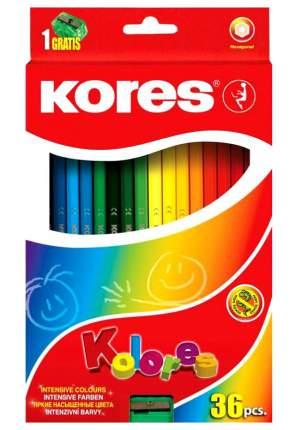Карандаши цветные Kores Kolores экстра мягкие трехгранные 24 цвета + точилка
