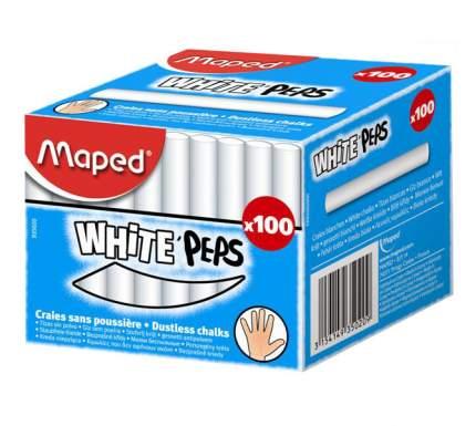 Белый круглый мел Maped White'Peps 100 мелков картонная коробка