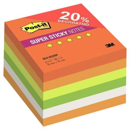 "Блоки самоклеящиеся (стикеры) POST-IT Super Sticky, ""Огонь"", 76х76 мм, комплект 6х90 л."