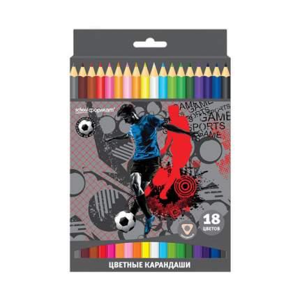Набор цветных карандашей ФУТБОЛ 18 цв. трехгранные
