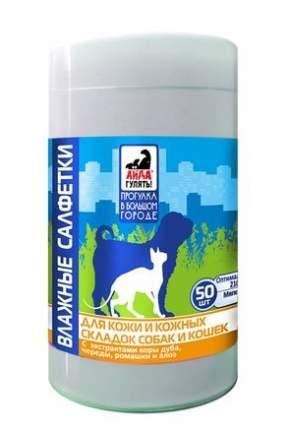 Влажные салфетки для кошек и собак Астрафарм Айда гулять! для кожи и кожных складок, 50шт