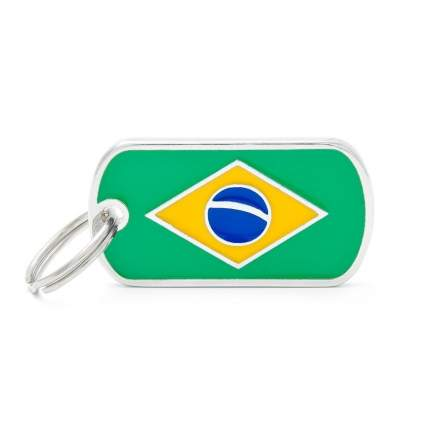 Адресник для кошек и собак My Family Flags Brazil Flag