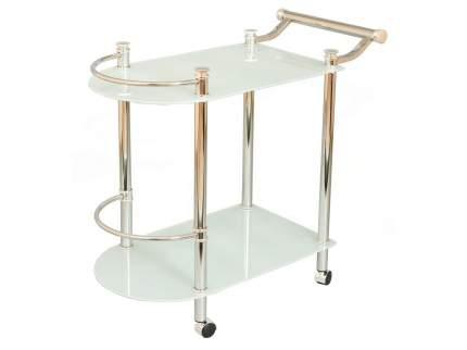 Стеклянный сервировочный столик на колесиках Red and Black SC-5038-CG Хром