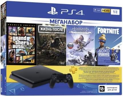 Игровая приставка PS 4 1TB GTA V+Жизнь после+Horizon Zero Dawn+Fortnite+PS Plus 3 мес.