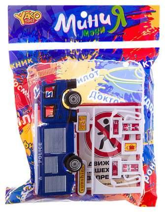 Игровой набор Yako Toys Дорожное движение с машинкой, заправкой, 6 обучающих карточек